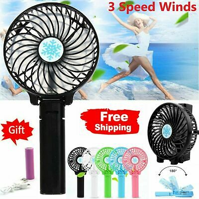 Mini Portable Fans Hand-held Desk Fan Cooler USB Rechargeable Air Conditioner UK