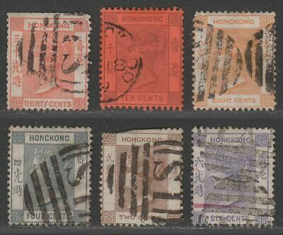 Hong Kong Queen Victoria Selection to 30c Used with several S1 postmarks