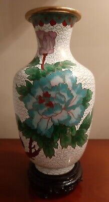 Stunning Chinese Cloisonne Vase Peonies & Bird Beautiful Carved Wooden Stand