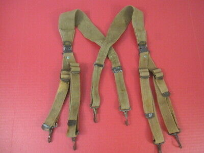 WWII Original US Army M1936 Combat Field Suspenders - Khaki - Dated 1943 - NICE
