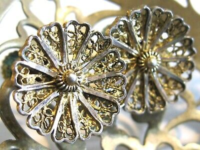 Vintage Antique Mexican Filigree Flower / Floral Earrings Ss 925 Sterling Silver