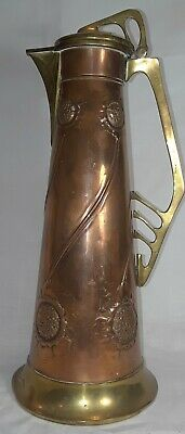Arts and Crafts Art Nouveau Copper Brass Flaggon Pitcher WMF Style
