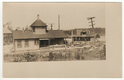 Rare PINEBLUFF North Carolina TRAIN STATION Depot RPPC RP Real Photo Postcard