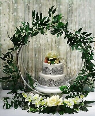 Small Hoop Wedding Cake Stand  - White   -  Wooden Hoop + Metal Stand