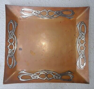 Arts and Crafts HEINTZ ART METAL SHOP Silver on Bronze Tray