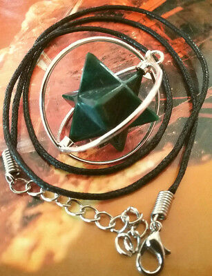 Sacred Geometry Spinning Bloodstone Crystal Merkaba Star  Pendant With Chain