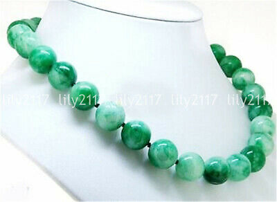 """Genuine 8MM Natural Green Jade Round Gemstone Beads Necklace 18"""" AAA"""