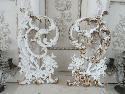 OMG PAIR Old WHITE Architectural Cast Iron METAL DECOR PIECES Ornate FLOWERS