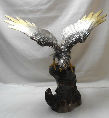 Vintage Bronze EAGLE BIRD HAWK Statue on Cliff Prey Animal Marked #14