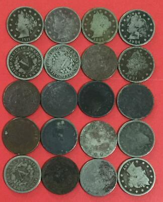 """1800s-1900s US LIBERTY """"V"""" NIckels Collection of 20 Assorted Dark Coins!"""