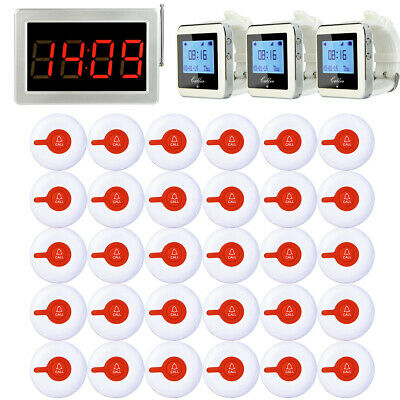 Restaurant Cafe Pager Queuing System+30*Guest Call Button+3*Receiver+Host 433MHz