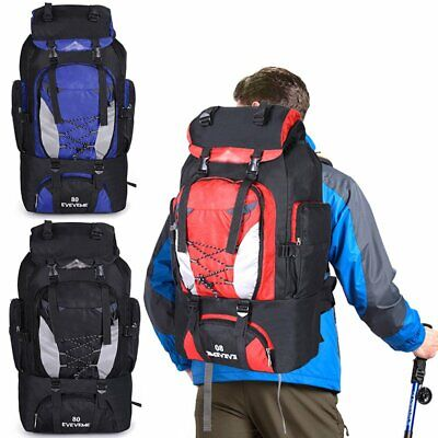 80L Extra Large Nylon Sports Backpack Rucksack Outdoor Camping Hiking Bag PE