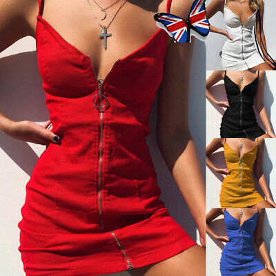 Sexy Women's Strappy Zip Up V Neck Bodycon Dress Ladies Summer Mini Short Dress