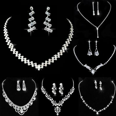 Fashion Wedding Bridal Crystal Rhinestone Women Necklace Earrings Set Jewelry