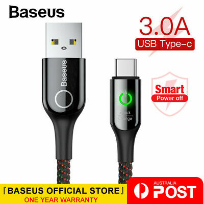 Baseus Type-C USB-C Data Sync 3A Fast Charger Cable for Samsung S8 S9 S10 Huawei