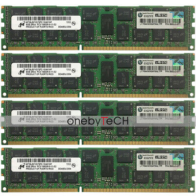 Micron 32GB 4x8GB 2RX4 PC3-10600R DDR3 1333 240pin ECC Registered Server Memory