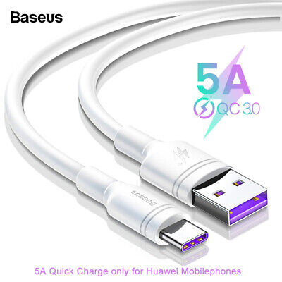 Baseus USB-C Type C Cable 5A Fast Charging Cord for Huawei Mate 20 P30 P20 Pro