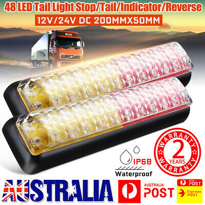 2X LED Trailer Tail Light Stop Reflector Lamp Truck Bus Ute 12/24V Waterproof AU