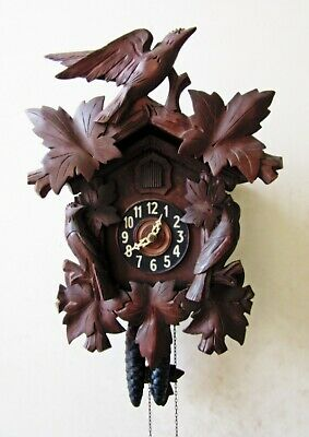Antique Black Forest Hand-Carved Wood Cuckoo Clock Wall Clock, Birds, Works Well
