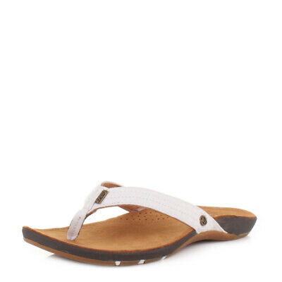385bfe83385a3 Womens Reef Miss J-Bay Tan White Leather Flip Flops Toe Post Sandals Size 3