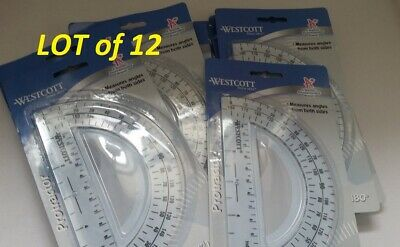 180 degree Protractor 6 Inches Office Depot Transparent various colors 713-585