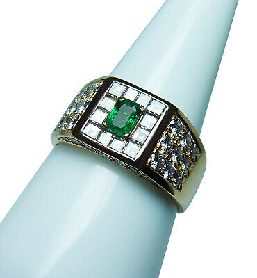 18K Gold Asscher Diamond Colombian Emerald Ring