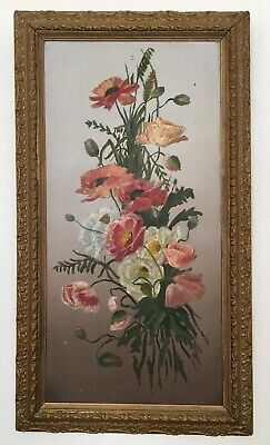 Large Antique 19th French Century Oil On Board Painting In Gold Gilt Frame