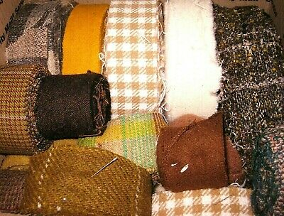RUG BRAIDING Rolled WOOL STRIPS ~ 6 lbs Mixed LOT Green Yellow White Earth Tones