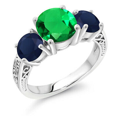 1.51 Ct Blue Created Sapphire Green Nano Emerald 925 Sterling Silver Ring