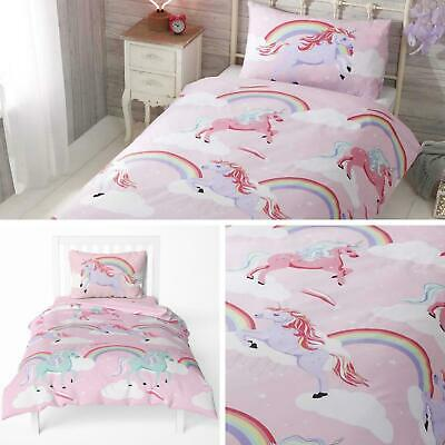 Unicorn Duvet Covers Pink Rainbow Unicorns Kids Girls Quilt Cover Bedding Sets