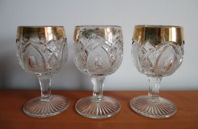 U.S Glass New Hampshire 3 Water Goblets States Series 15084 Gold Trim EAPG 1903