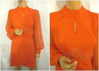 Vintage 60s Mod 14/16 Red Scooter Gogo Party Dress Sheer Puff Sleeve Embellished