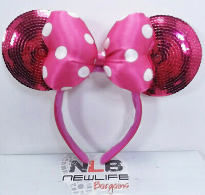 Disney Parks Minnie Mouse Pink Sequin Bow Polka Dot Ears Headband