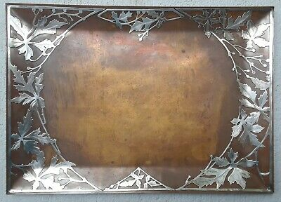 Arts and Crafts HEINTZ ART METAL SHOP Silver on Bronze Large Tray Woodbine Vine