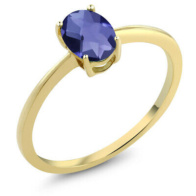 0.65 Ct Oval Checkerboard Blue Iolite 10K Yellow Gold Solitaire Engagement Ring