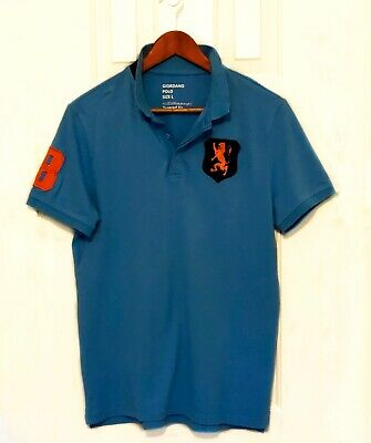 57c28bf6 MEN'S GIORDANO RED Polo Golf Big Logo Short Sleeve Shirt Size Medium ...