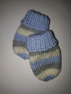 0-3 months baby boys Blue, Grey and Cream mittens BNWOT