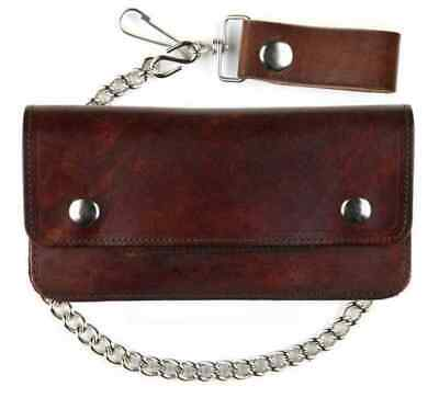 Mascorro Genuine Leather Men's 8 in Trucker Biker Chain Wallet, Brown AT401-46