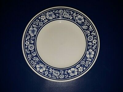 "4 GUC Royal Wessex Churchill White & Blue Floral Border 9 7/8"" Dinner Plates"