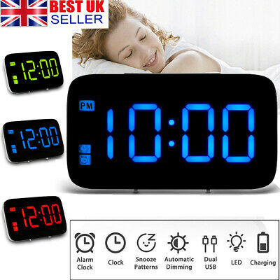 USB LED Digital Table 3D Wall Clock Large Display Alarm Clock Brightness Dimmer