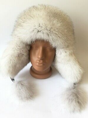 4ebe575743608 Real 100% Leather Arctic Fox Fur Bomber Hat Ushanka hat Women's Winter Hat