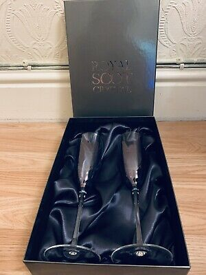 Royal Scot Crystal - 2 Champagne Glass - New in box