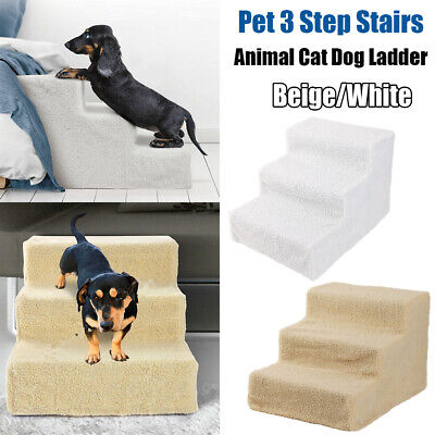 Soft Plush Pet Dog Stairs 3 Steps Climb Ramp Animal Cat Ladder Couch Bed w/Cover