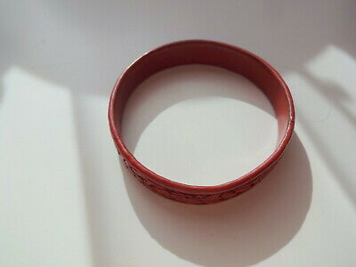 1900's Chinese Cinnabar Lacquer Deeply Carved Flowers Bangle Bracelet