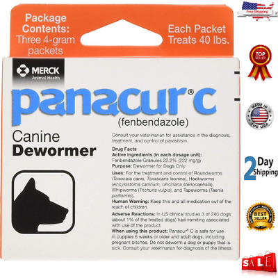 Panacur Canine Dewormer, Net Wt.12 Grams, Package Contents Three, 4 Gram Packets