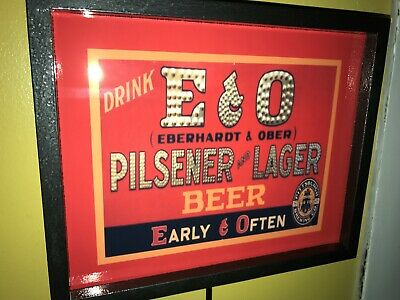 E&O Eberhardt Ober Early Often Beer Tavern Bar Man Cave Advertising Lighted Sign