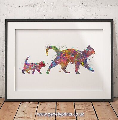 Mother and Baby Cat Watercolor Art Print - Cat Poster - Cat Wall Decor