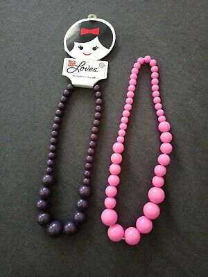 RYB ROCK YOUR BABY 2X beaded necklace purple and pink BNWT