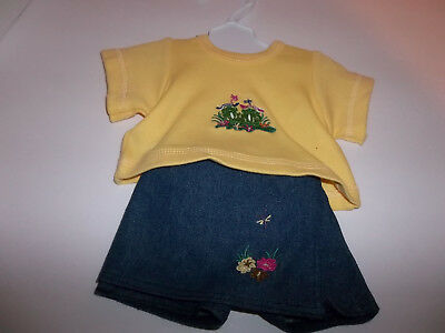 """Yellow t-shirt with Blue Denim Skort made for 18"""" American Girl Doll Clothes New"""