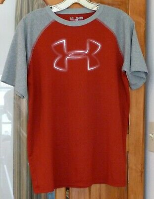 5a24df92 UNDER ARMOUR Loose Heat Gear T-SHIRT Red Gray ColorBlock Large Shadowy Logo  YXL
